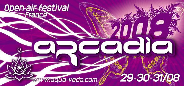 Communication Flyer, affiche et site web pour le festival de musique électronique Arcadia  de l'association Aqua-Veda