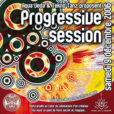 Flyer pour la soirée Progressive session organisée par Gaia Concept et Aqua-Veda en 2006