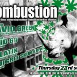 Flyer pour une soirée Kombustion à Edimbourg en Écosse.